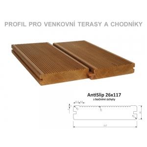 Thermowood borovice AntiSlip 26 x 117mm s bočními úchyty